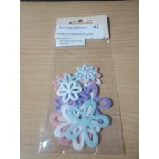 Felt flower stickers (Pastel)